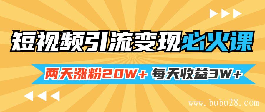 小明兄短视频引流变现必火课,两天涨粉20W+,每天收益3W+(全套实操课)